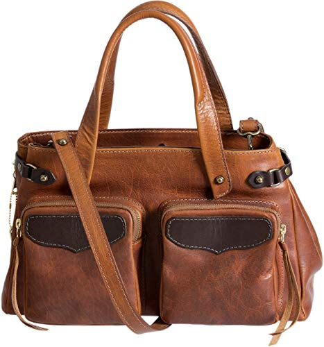 (Santa Fe Bison Leather Crossbody Top Handle Handbag with Concealed Carry Pocket)