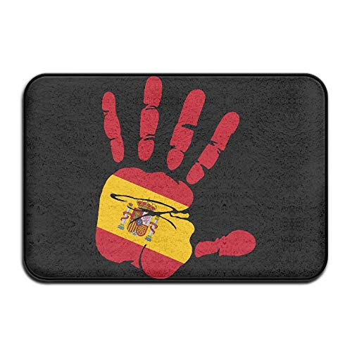 Inside & Outside Doormat Handprint Flag Spain Design Pattern Hallways Foyers by Fuucc-6