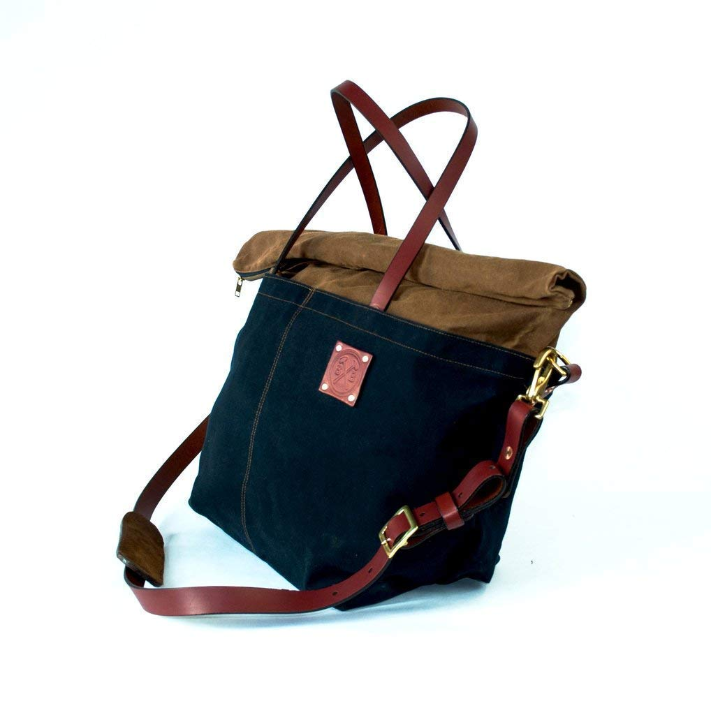 f0f4255558 Amazon.com  Waxed Canvas and Leather Weekend Tote Bag - Overnight Travel  Duffle Bag