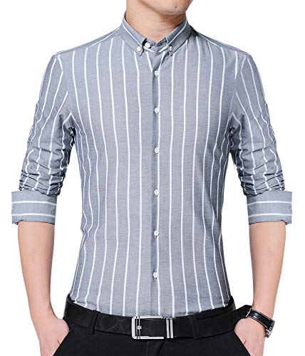 JKWES Men's Long Sleeve Casual Fitted Vertical Striped Button Down Dress Shirt US M Grey ()