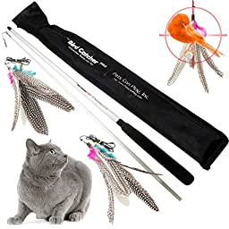 Pets Can Play The Bird Catcher Pro Interactive Teaser Cat Toy with 2 Feather Refill Replacement Pack