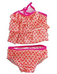 Infant Baby Girls Tankini Swimsuits Valentine's Day Heart Ruffle Set