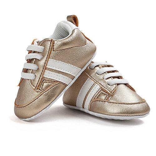 Itaar bebé niños niñas zapatillas suela suave, antideslizante, diseño de rayas Casual primera–Zapatos de Senderismo para bebé Niños White + Pink Stripe Talla:6-12 meses dorado