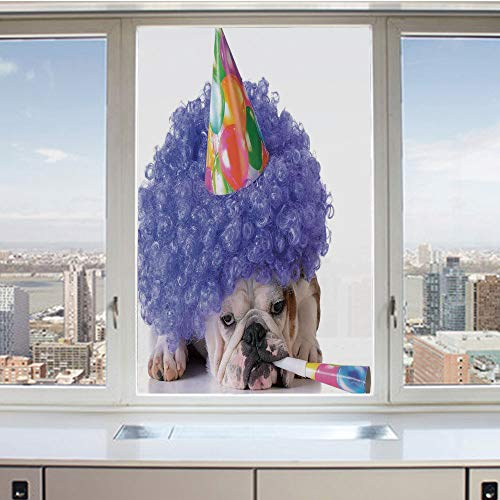 (3D Decorative Privacy Window Films,Boxer Dog Animal with Purple Wig with Colorful Party Cone,No-Glue Self Static Cling Glass Film for Home Bedroom Bathroom Kitchen Office 24x36 Inch)