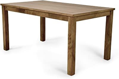 Dining Table in Washed Pine Made of Solid and Manufactured Wood Sturdy Square Post Legs Add Stability This Table Adds a Warm and Rustic Touch to Your Look
