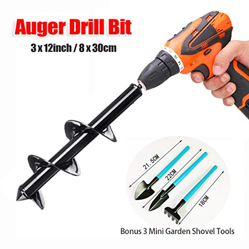 GreatforU Auger Drill Bit, Non-slip 3″ x 12″ Backyard Plant Tulips Flower Bulb Auger, Earth Spiral Drill, Fast Planter, Gardening Submit or Umbrella Gap Digger for 3/8″ Hex Drive Drill (Metal, Black)
