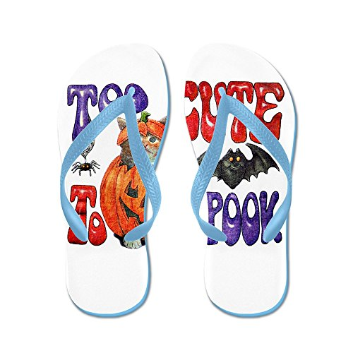 Royal Lion Women's Halloween Pumpkin Kitten Spider Caribbean Blue Rubber Flip Flops Sandals 11.5-12 -