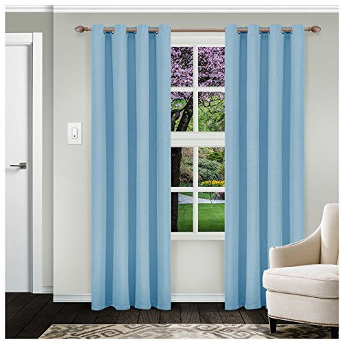 Superior Solid Blackout Curtain Set of 2, Thermal Insulated Panel Pair with Grommet Top Header, Elegant Solid Room Darkening Drapes, Available in 4 Lengths - Light Blue, 52