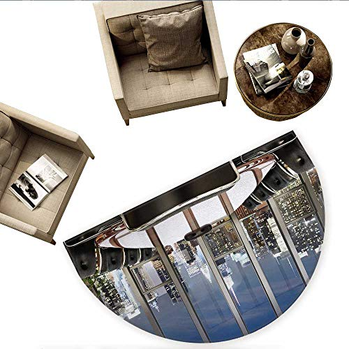 (Modern Half Round Door mats Business Office Conference Room Table Chairs City View at Dusk Realistic Photo Bathroom Mat H 78.7