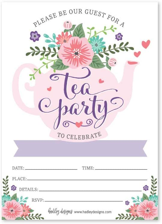 Amazon Com 25 Floral Tea Party Invitations Little Girl Garden Tea Cup Time Bridal Or Baby Shower Invite High Tea Themed Ladies Event Ideas Lavender Kids Birthday Supplies Printed Or Fill In The