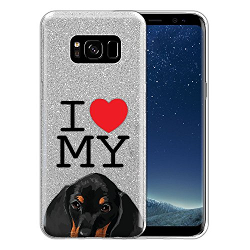 FINCIBO Galaxy S8 Case, Shiny Sparkling Silver Bling Glitter TPU Silicone Protector Cover Case For Samsung Galaxy S8 G950 5.8 inch - I Love My Dachshund Puppy Dog