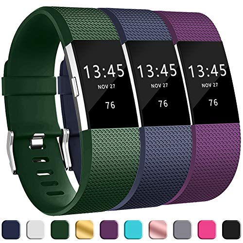 (GEAK Replacement Bands for Fitbit Charge 2, Adjustable Classic Wristbands for Fitbit Charge 2, Large Navy Olive Purple)