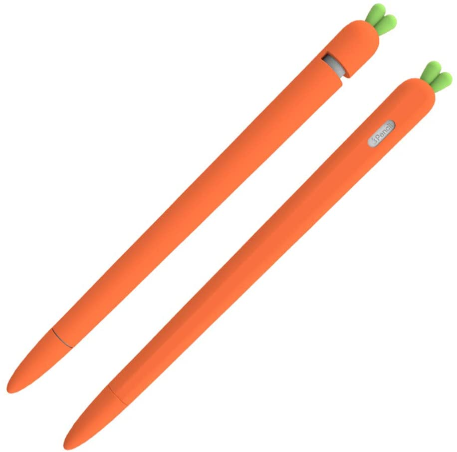 CHENXI Silicone Case Compatible New Apple Pencil 1nd/2nd Generation Holder Protective Skin Cover case for iPad,Cute Carrot Accessories Soft Grip Pouch with Pencil Tip Cover. (1nd, Orange)
