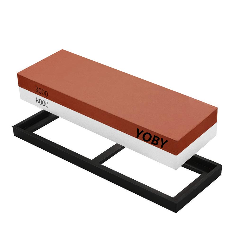 YOBY Sharpening Stone 2 Side Whetstone 3000/8000 Grit with Non-Slip Silicone Holder Professional Sharpener