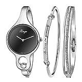 Xinge Women's Black Bangle Watch Set with Bracelets Silver Tone XG3678SB/4244