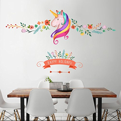 LANGUGU Unicorn Peel Stick Removable Wall Decals Stickers Home Decor Art for Home, Bedroom Stencil Decoration (Type (Spruce Square Clock)