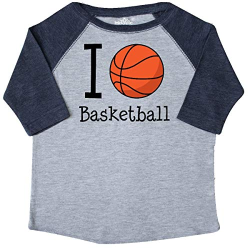 inktastic - I Heart Basketball Toddler T-Shirt 2T Heather and Navy 18b71