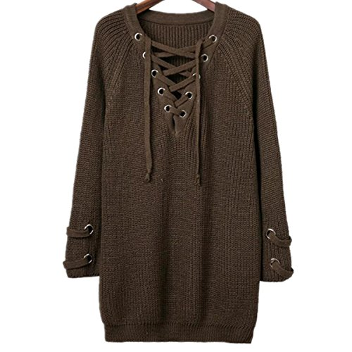 Taiduosheng Women Ribbon V-neck Knit Stretchable Elasticity Sweater Pullover Cardigan Green