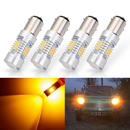 ANTLINE Extremely Bright 1157 1157A 2057 2357 7528 2357A BAY15D 21-SMD 2835 Chipsets 1260 Lumens LED Bulb Replacement Amber Yellow for Car Turn Signal Blinker Side Marker Lights Bulbs (Pack of 4)
