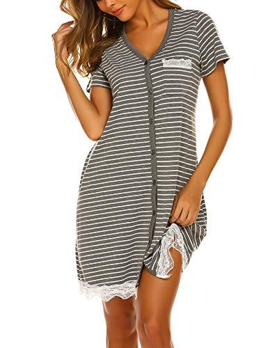 Ekouaer Women's Short Sleeve V-Neck Button Down Lace Nightgown Soft Sleeping Shirts ()