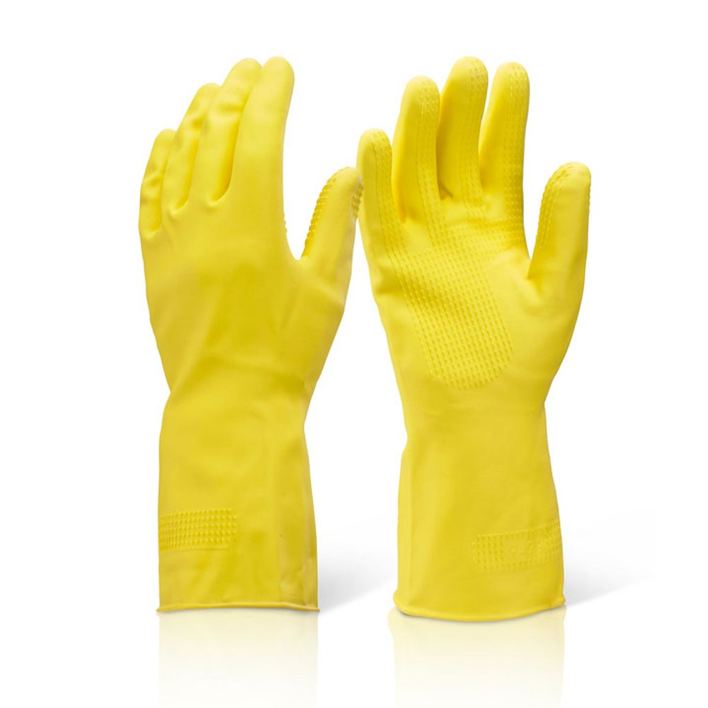 THE CHEMICAL HUT® x1 Small Yellow HEAVY DUTY Industrial Cleaning Washing Up Rubber Latex Gloves Extra Grip - Comes With TCH Anti-Bacterial Pen! TheChemicalHut
