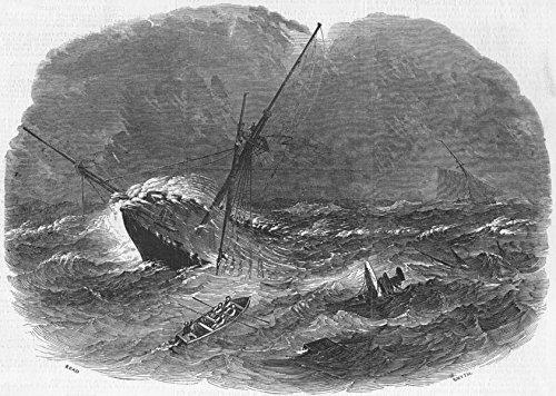 HARWICH. Floridian, Emigrant ship wreck, long sands - 1849 - old antique vintage print - engraving art picture prints of Essex Ships - Illustrated London News