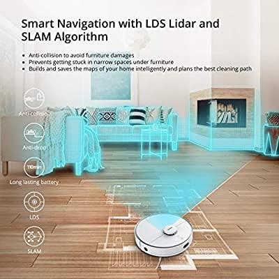 Robot Vacuum Cleaner, 360 2000Pa Vacuum Cleaner with Laser Navigation, Smart Sensor, Auto-Recharge and Resume, HEPA Filter, Multi-Map Management, Off Limit App Control, Cleans Pet Hair, Carpets