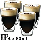 SPARES2GO 80ml Double Walled Thermal Coffee Glass Tumbler Espresso Shot Cup Glasses (Box of 4) by Spares2go