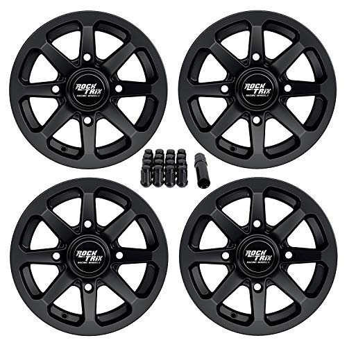 RockTrix RT102 12 inch ATV Wheels Rims 12x7 Matte Black - 4x156 Bolt Pattern - 4+3 offset - includes 3/8x24 Spline Lug Nuts - Compatible with many Polaris ATV UTV - Set of 4 (12 In Atv Wheels)