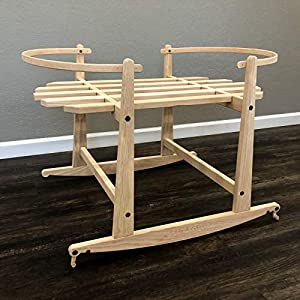 2 in 1 Natural Rocking Stand for Snuggle Me Organic Baskets – with Brakes