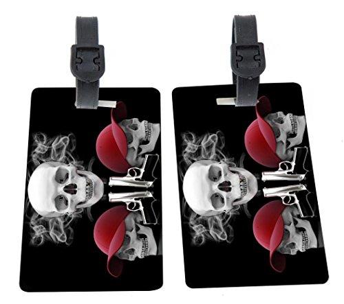 Rikki Knight Smoking Skulls in Caps Design Premium Quality Plastic Flexi Luggage Tags with Strap Closure - Great for Travel (set of (Flexi Cap)