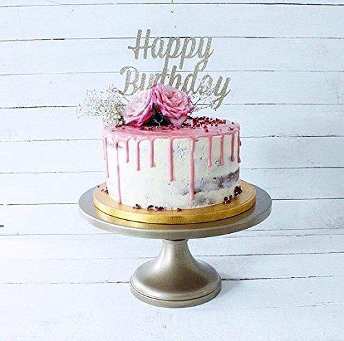 Happy Birthday Silver Glitter Card Cake Topper Fancy 1st