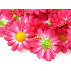 "(24) Silk Hot Pink Gerbera Daisy Flower Heads , Gerber Daisies - 1.75"" - Artificial Flowers Heads Fabric Floral Supplies Wholesale Lot for Wedding Flowers Accessories Make Bridal Hair Clips Headbands Dress 2"