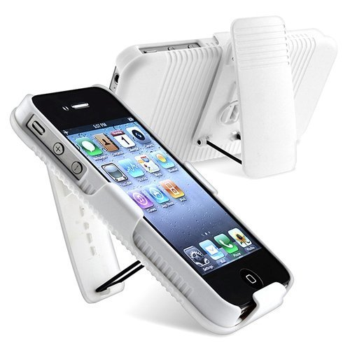 ECOZ 2-Piece Hard Shell Protective Case and Silde On Holster Combo- For Apple iPhone 4S / 4 - Includes Swivel Belt Clip and Integrated Viewing Kick-Stand - Clean Ivory - Case Ezgear Protective