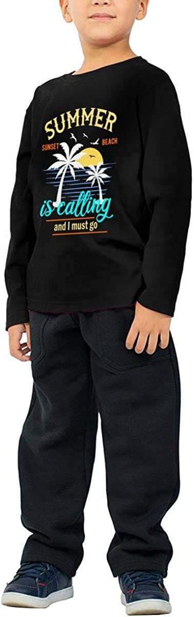 Summer is Calling and I Must Go Childrens Long Sleeve T-Shirt Boys Cotton Tee Tops