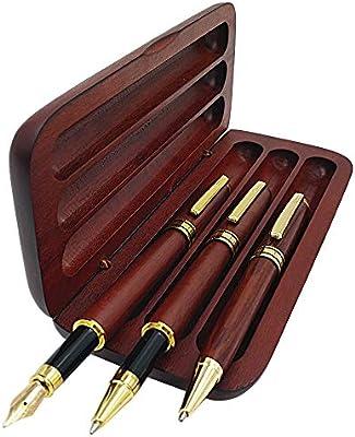Artsy Plumas estilográficas para escribir Colección vintage de bambú Bolígrafo y lápiz con caja de regalo de madera Mejor firma de caligrafía Negocios antiguos Boda Regalos de cumpleaños: Amazon.es: Oficina y papelería