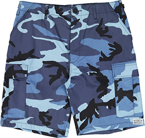 Army Universe Sky Blue Camouflage Military BDU Cargo Shorts Pin Size XX-Large (Waist 43-47