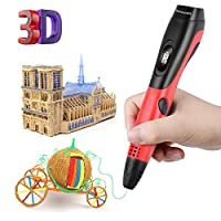 Bermunavy 3D Pen 3D Printer - OLED Screen Auto 3D Printing Pen No Clogging 3D Pen for Kids Adults Arts 3D Doodler 3D Drawing DIY with 3D Printer Filament PLA Pen Holder 3D Drawing Stencils