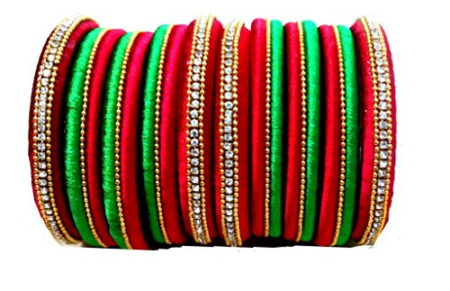 Silk Thread Bangles Set Red & Green Rhinestone Embellished Designer Bangles 10 Bangles Combo (2.8)