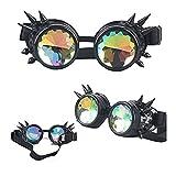 FIRSTLIKE Kaleidoscope Spike Steampunk Antique Copper Goggles Punk Goth Aviator Rave