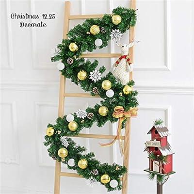 SDJQQXX 2.7M Guirnaldas De Navidad Decoración Escaleras Chimeneas Artificial Pino Verde Guirnalda Interior Al Aire Libre Festivo Navidad Decorado: Amazon.es: Hogar
