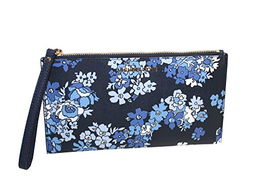 MICHAEL Michael Kors Women's Jet Set Travel Floral Leather Large Zip Clutch (Navy) by MICHAEL Michael Kors