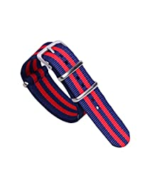 22mm Dark Blue/Red Deluxe Casual Durable Nylon NATO style Watch Straps Bands Replacements for Men