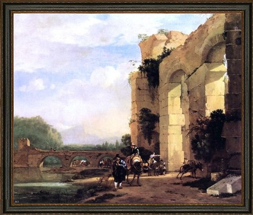 (Art Oyster Jan Asselyn Italian Landscape with The Ruins of a Roman Bridge and Aqueduct - 16.05