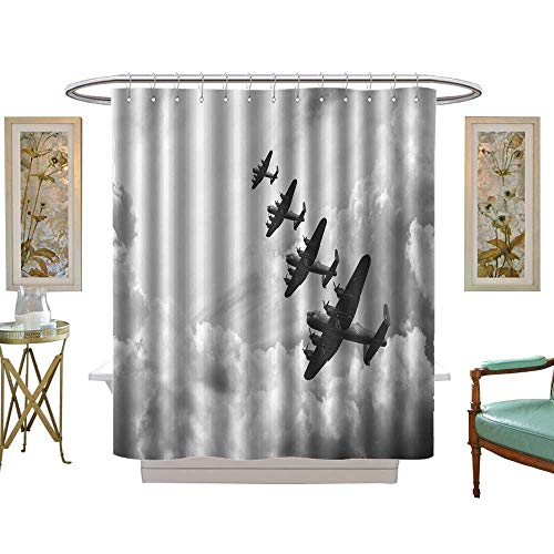 luvoluxhome Shower Curtains with Shower Hooks Black and White Retro Image of Lancaster Bombers from Battle of Britain in World War Two W48 x L72 Satin Fabric Sets Bathroom