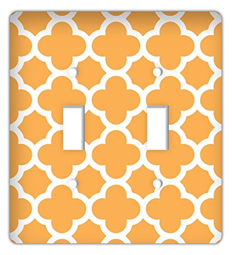 Drama Decor Quatrefoil Trendy Printed Double Switchplate Cover, Orange ()