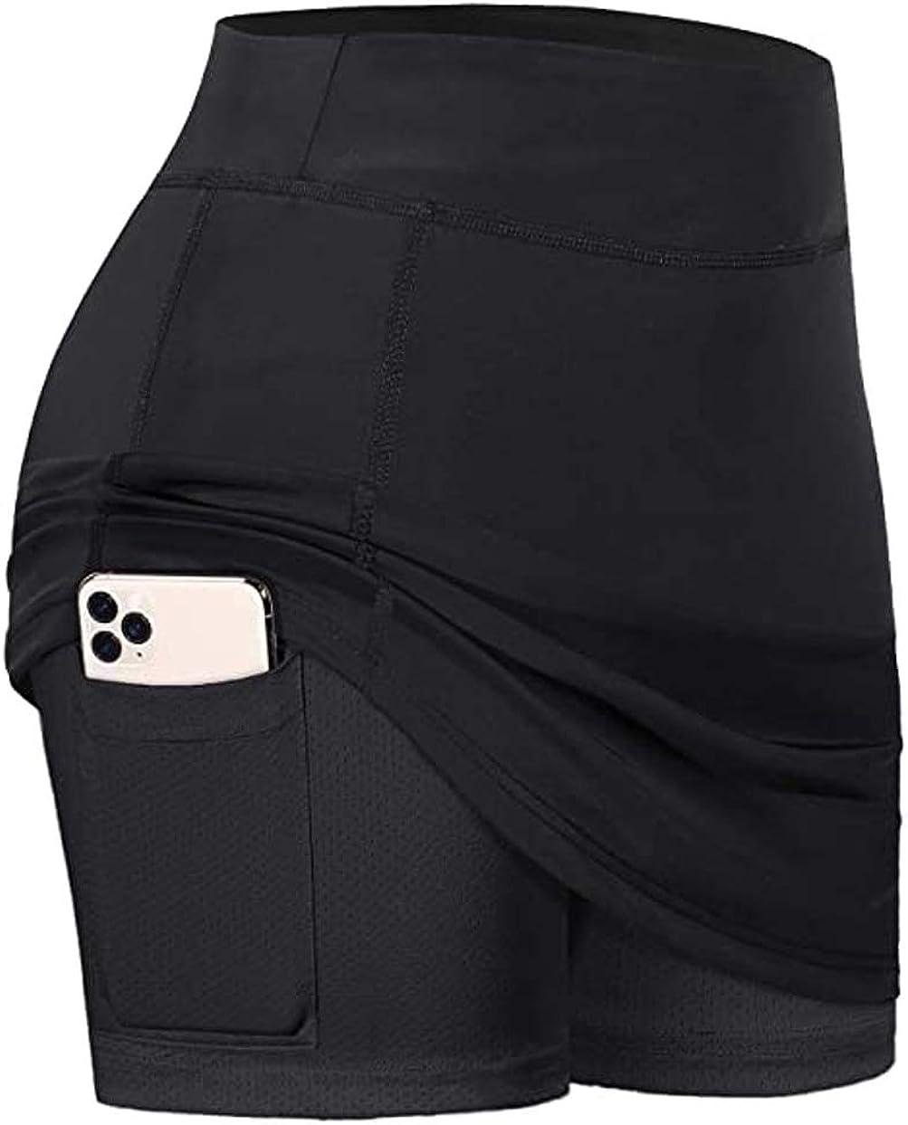ExQuisite.ZFZ Women's Tennis Skirts Elastic Inner Shorts Sports Running Golf Skorts with Pockets