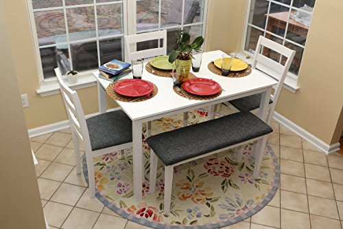 5pc Dining Dinette Table Chairs & Bench Set Classic White Fi