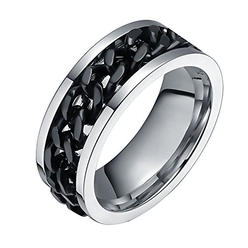FANSING Costume Jewelry Halloween Gift 8mm Black Wedding Bands Rings for Mens and Womens Stainless Steel Spinner Chain Size 9.5