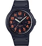 [カシオ]CASIO 腕時計 スタンダード アナログウォッチ ワイドフェイス ブラック×オレンジ 国内メーカー保証付き MW-240-4BJF